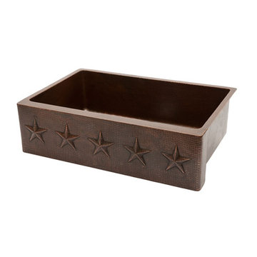 Premier Copper 33 Inch Hammered Copper Kitchen Apron Single Basin Sink With Star Design