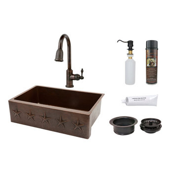 Premier Copper 33 Inch Hammered Copper Kitchen Apron Single Basin Sink With Star Design Package