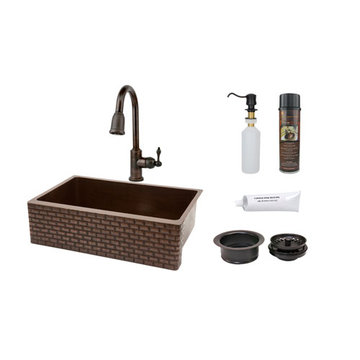Premier Copper 33 Inch Hammered Copper Kitchen Apron Single Basin Sink With Tuscan Design Package