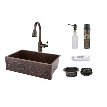 Premier Copper 33 Inch Hammered Copper Kitchen Apron Single Basin Sink With Vineyard Design Package