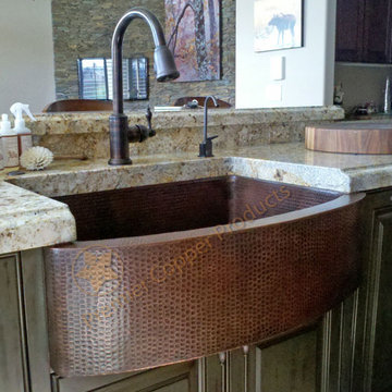 Premier Copper 33 Inch Hammered Copper Kitchen Rounded Apron Single Basin Sink