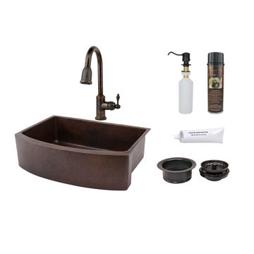 Premier Copper 33 Inch Hammered Copper Kitchen Rounded Apron Single Basin Sink & Faucet Package