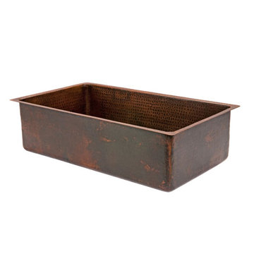 Premier Copper 33 Inch Hammered Copper Kitchen Single Basin Sink