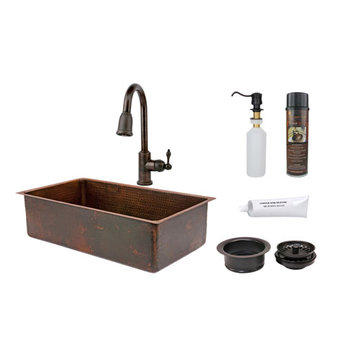 Premier Copper 33 Inch Hammered Copper Kitchen Single Basin Sink & Faucet Package