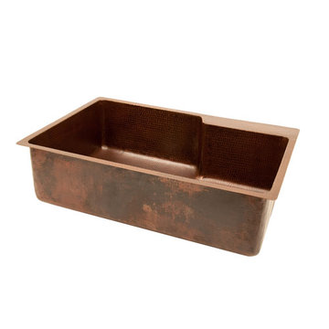 Premier Copper 33 Inch Hammered Copper Kitchen Single Bowl Sink