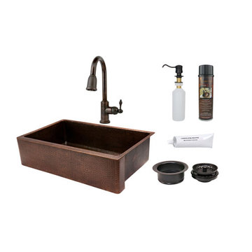 Premier Copper 35 Inch Hammered Copper Kitchen Apron Single Basin Sink & Faucet Package