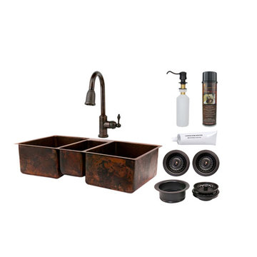 Premier Copper 42 Inch Hammered Copper Kitchen Triple Basin Sink & Faucet Package