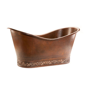 Premier Copper 67 Inch Hammered Copper Double Slipper Bath Tub With Scroll Base And Nickel Inlay