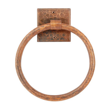 Premier Copper 7 Inch Hand Hammered Copper Towel Ring