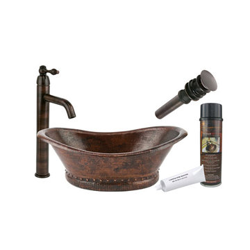 Premier Copper Bath Tub Vessel Hammered Copper Sink & Faucet Package