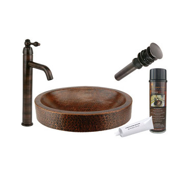 Premier Copper Compact Oval Skirted Vessel Hammered Copper Sink & Faucet Package