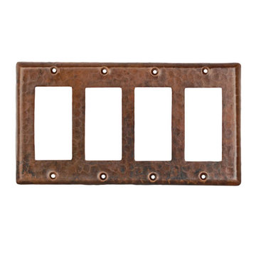 Premier Copper Copper Quadruple Rocker Switch plate