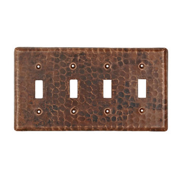 Premier Copper Copper Quadruple Toggle Switchplate