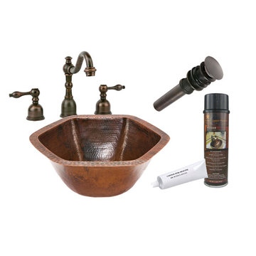 Premier Copper Hexagon Under Counter Hammered Copper Sink & Faucet Package
