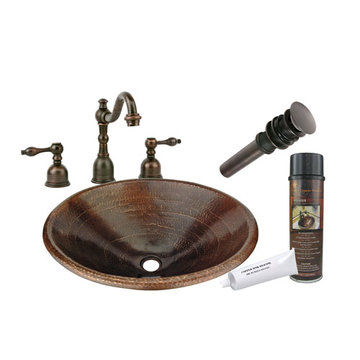Premier Copper Master Bath Oval Self Rimming Hammered Copper Sink & Faucet Package