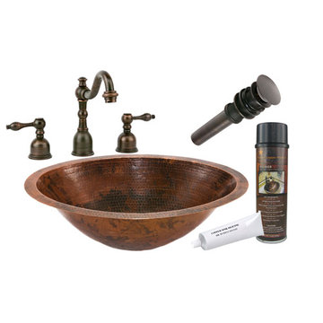 Premier Copper Master Bath Oval Under Counter Hammered Copper Sink & Faucet Package