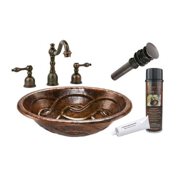 Premier Copper Oval Braid Self Rimming Hammered Copper Sink & Faucet Package