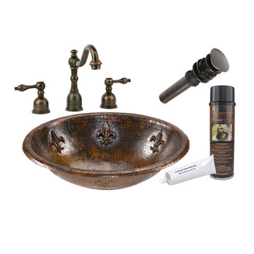 Premier Copper Oval Fleur De Lis Self Rimming Hammered Copper Sink & Faucet Package