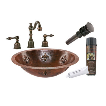 Premier Copper Oval Fleur De Lis Under Counter Hammered Copper Sink & Faucet Package