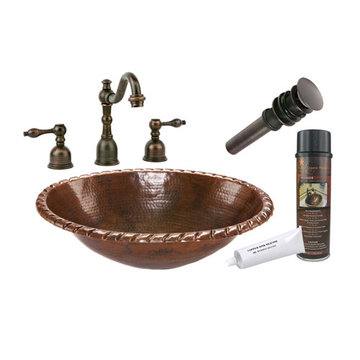 Premier Copper Oval Roped Rim Self Rimming Hammered Copper Sink & Faucet Package