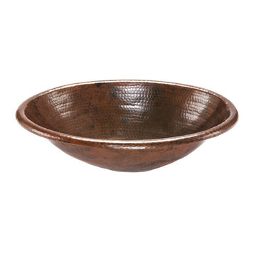 Premier Copper Oval Self Rimming Hammered Copper Sink