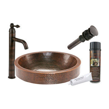 Premier Copper Oval Skirted Vessel Hammered Copper Sink & Faucet Package