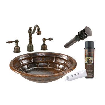Premier Copper Oval Stacked Stone Self Rimming Hammered Copper Sink & Faucet Package