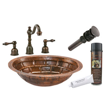 Premier Copper Oval Stacked Stone Under Counter Copper Sink & Faucet Package
