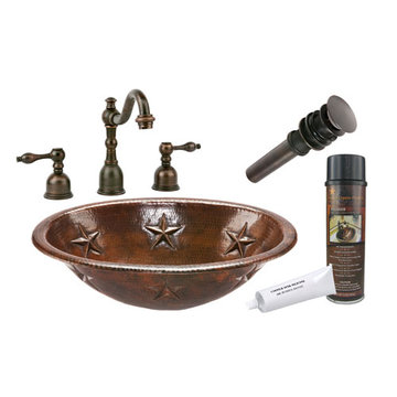 Premier Copper Oval Star Self Rimming Hammered Copper Sink & Faucet Package