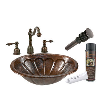 Premier Copper Oval Sunburst Self Rimming Hammered Copper Sink & Faucet Package