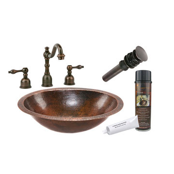 Premier Copper Oval Under Counter Hammered Copper Sink & Faucet Package