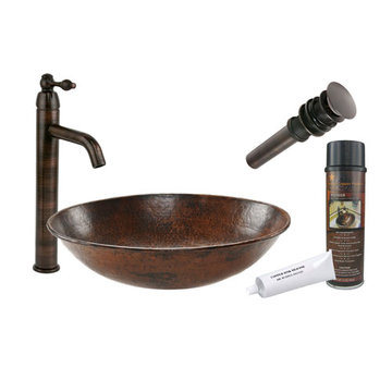 Premier Copper Oval Wired Rimmed Vessel Hammered Copper Sink & Faucet Package