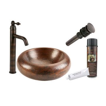 Premier Copper Premium 15 Inch Blooming Vessel Hammered Copper Sink & Faucet Package