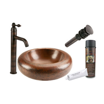 Premier Copper Premium 18 Inch Blooming Vessel Hammered Copper Sink & Faucet Package
