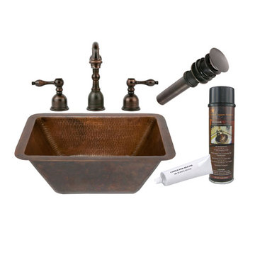 Premier Copper Rectangle Hammered Copper Sink & Faucet Package