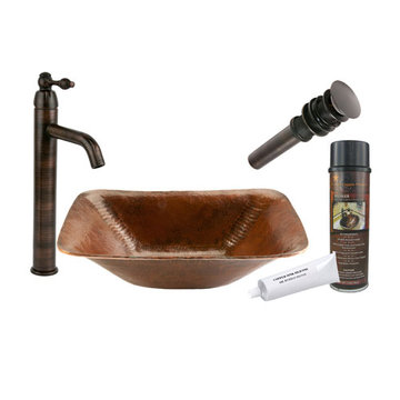 Premier Copper Rectangle Hand Forged Old World Copper Vessel Sink & Faucet Package
