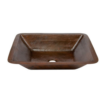 Premier Copper Rectangle Under Counter Hammered Copper Bathroom Sink