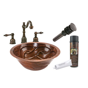 Premier Copper Round Braided Under Counter Hammered Copper Sink & Faucet Package