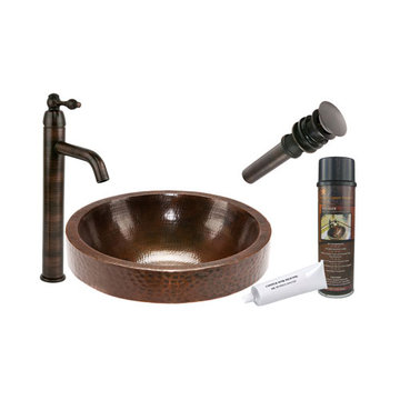 Premier Copper Round Skirted Vessel Hammered Copper Sink & Faucet Package