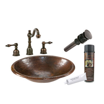 Premier Copper Small Oval Self Rimming Hammered Copper Sink & Faucet Package