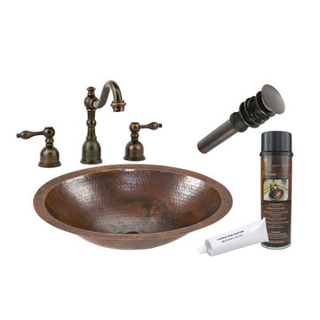 Premier Copper Small Oval Under Counter Hammered Copper Sink & Faucet Package