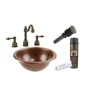 Premier Copper Small Round Self Rimming Hammered Copper Sink & Faucet Package