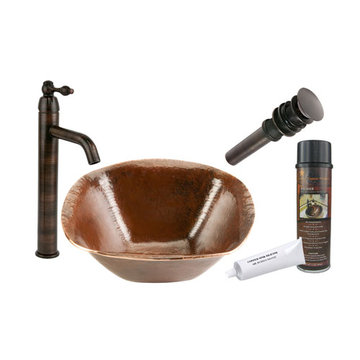 Premier Copper Square Hand Forged Old World Copper Vessel Sink & Faucet Package