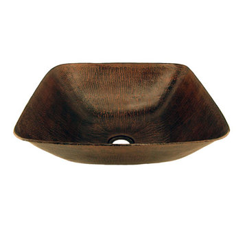 Premier Copper Square Vessel Hammered Copper Sink