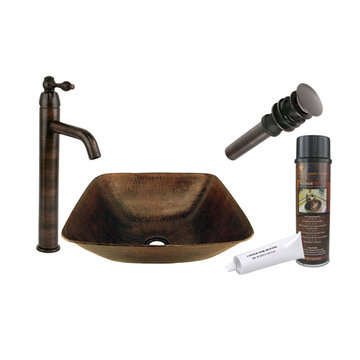Premier Copper Square Vessel Hammered Copper Sink & Faucet Package