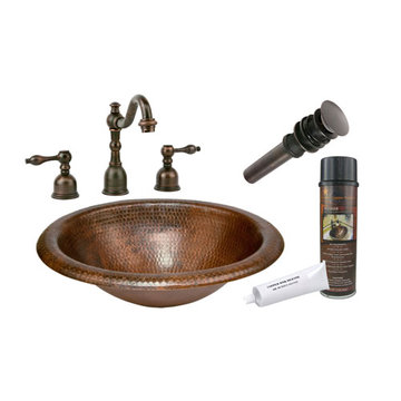Premier Copper Wide Rim Oval Self Rimming Hammered Copper Sink & Faucet Package