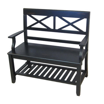 Black Double X Bench