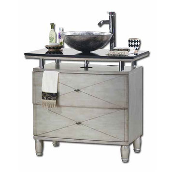 Contempo Silver Vanity With Vessel Sink
