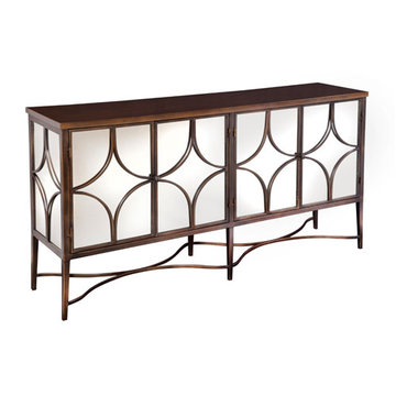 Narrow Mirrored Iron Console