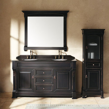 James Martin Brookfield 60 Inch Antique Black Double Vanity Cabinet Only